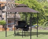 Outsunny 8 ft New Double-Tier BBQ Gazebo Grill Canopy Barbecue Tent Shelter Patio Deck Cover - Coffee 01-0272 5060348505075