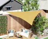 Outsunny Triangle Sun Shade Sail 5m x 5m x 5m HDPE UV Block Outdoor Patio Canopy Shelter,Sand 840-231SD 5056399145858