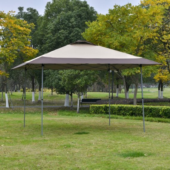 Outsunny 4 x 4m Pop-up Canopy Gazebo Tent with Roller Bag & Adjustable Legs Outdoor Party, Steel Frame, Khaki 84C-247CF 5056399144622