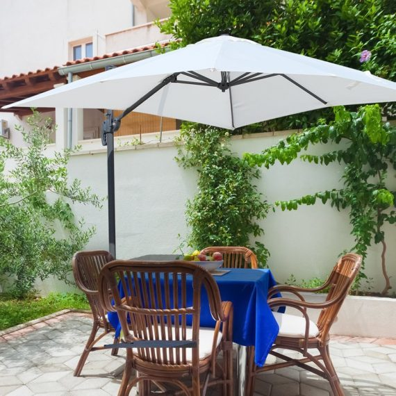 Outsunny Square Patio Parasol Offset Cantilever Sun Umbrella 360° Rotation w/ Cross Base 84D-051CW 5056029826867