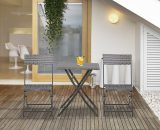 Outsunny Rattan Garden Furniture Bistro Set Outdoor Patio Coffee Set 2 Wicker Weave Folding Chairs and 1 Square Table (Grey) 841-176GY 5056399146749