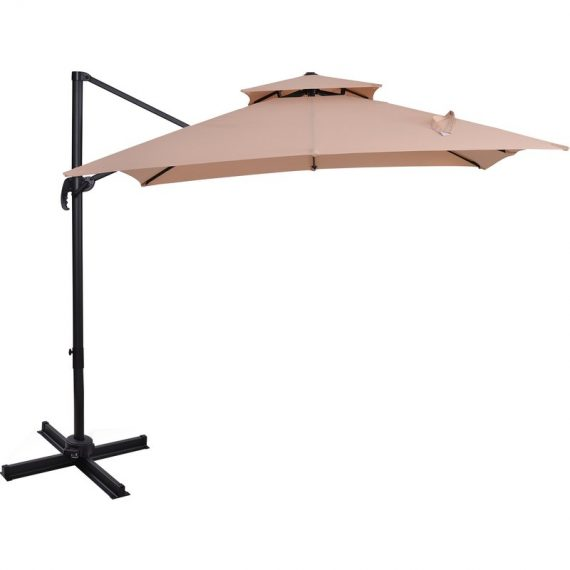 Outsunny Steel Frame Outdoor Roma Cantilever Umbrella 84D-073 5056399106675