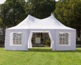 Outsunny 6.8m x 5m Octagonal Party Tent / Wedding Marquee-White 01-0005-002 5060348504627