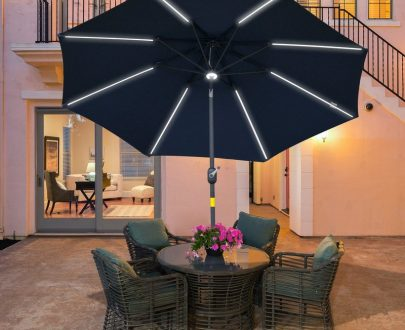 Outsunny 2.7m Garden Parasol Sun Umbrella Patio Summer Shelter w/ LED Solar Light, Angled Canopy, Vent, Crank Tilt, Blue 84D-105NU 5056399151217