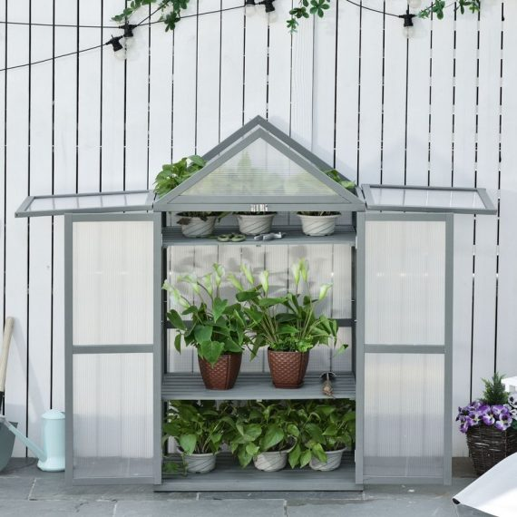 Outsunny Garden Polycarbonate Cold Frame Greenhouse Grow House Flower Vegetable Plants w/ Adjustable Shelves, Double Doors, 80 x 47 x 138cm, Grey 845-370GY 5056399151248