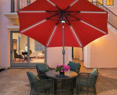 Outsunny 2.7m Garden Parasol Sun Umbrella Patio Summer Shelter w/ LED Solar Light, Angled Canopy, Vent, Crank Tilt, Red 84D-105WR 5056399151224