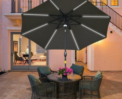 Outsunny 2.7m Garden Parasol Sun Umbrella Patio Summer Shelter w/ LED Solar Light, Angled Canopy Vent, Crank Tilt, Grey 84D-105CG 5056399151200