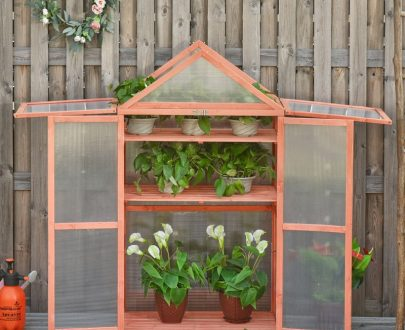 Outsunny Garden Polycarbonate Cold Frame Greenhouse Grow House Flower Vegetable Plants w/ Adjustable Shelves, Double Doors, 80 x 47 x 138cm, Orange 845-370 5056399151231