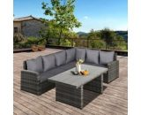 Outsunny 3 PCS Outdoor Patio Dining Table Sets All Weather PE Rattan Sofa Furniture Set w/ Cushions & Tempered Glass Table Top Grey 860-123V70 5056399150548