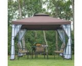 Outsunny 3m x 3m Gazebo Marquee Metal Party Tent Canopy Pavillion Patio Garden Shelter Steel Frame with mesh sidewall and Water strip Coffee 01-0153 5060265998615