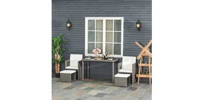 Outsunny 5 PCs Rattan Garden Furniture Space-saving Wicker Weave Sofa Set Conservatory Dining Table Table Chair Footrest Cushioned Grey 863-009GY 5056399146886