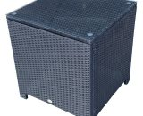 Outsunny Rattan Side Table W/ Metal Frame Tempered Glass in Black 01-0724 5060348504313