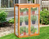 Outsunny 3-tier Wooden Cold Frame Polycarbonate Grow House Garden Greenhouse Outdoor Flower Vegetable Planting Storage Shelves 76L x 47W x 110H cm 845-135 5056029898253
