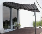 Outsunny 3x3m Freestanding Metal Wall Awning Canopy Grey 84C-038GY 5056029879153