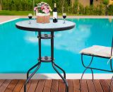 Outsunny Φ60×70H cm Round Metal Table, Tempered Glass-Black 84B-147 5056029892312