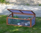 Outsunny Square Wooden Greenhouse for Plants Outdoor with Openable & Tilted Top Cover, PC Board, Brown, 100 x 65 x 40cm 845-471 5056399142758