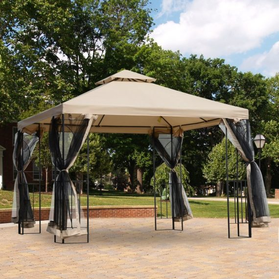 Outsunny 3x3m Outdoor Gazebo Tent W/Netting, 2-tier Roof 84C-128 5056029833742