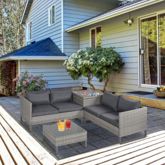Outsunny 4 PCs PE Rattan Wicker Sofa Set Outdoor Conservatory Furniture Lawn Patio Coffee Table w/ Side Storage Box & Cushion, Grey 860-131V70 5056399150579
