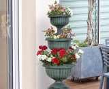 Outsunny 3-tier Chelsea Planter Flowers Outdoor Organisation Terrace Patio Balcony Indoors Green 844-279 5056399106392
