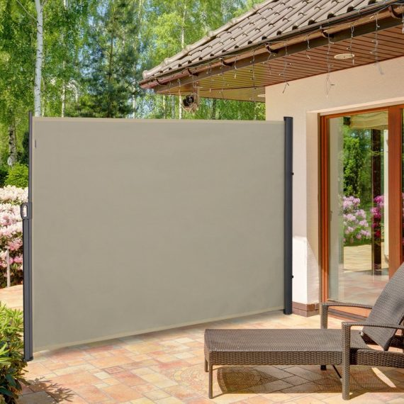Outsunny Retractable Sun Side Awning Screen Fence Patio Garden Wall Balcony Screening Panel Outdoor Blind Privacy Divider (3x2M, Cream White) 840-196CW 5056399142239