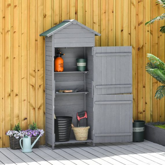 Outsunny Garden Shed Wooden Shed Timber Garden Storage Shed Outdoor Sheds w/ Tilted-felt Roof and Lockable Doors, 189cm x 82cm x 49cm, Grey 845-352 5056399151934
