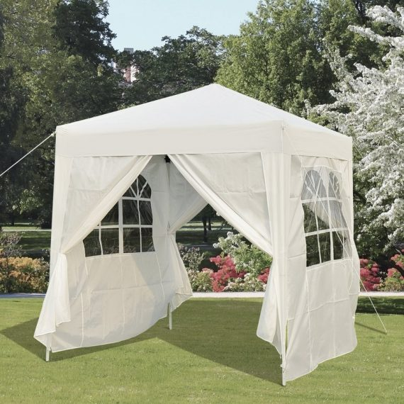 Outsunny 2 x2m Pop Up Gazebo Canopy Party Tent Wedding Awning W/ free Carrying Case White + Removable 2 Walls 2 Windows-White 100110-066W 5060265996376
