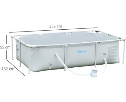 Outsunny Steel Frame Pool with Filter Pump and Filter Cartridge Rust Resistant Above Ground Swimming Pool with Reinforced Sidewalls, 252 x 152 x 65cm, Grey 848-016V70GY 5056399152122