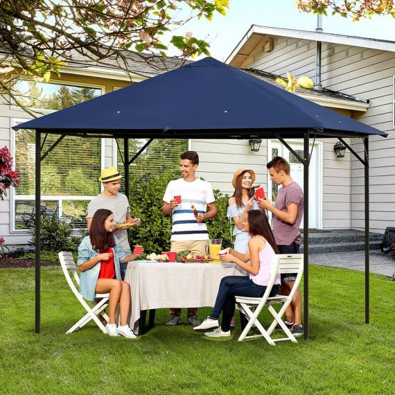 Outsunny 3 x 3(m) Gazebo Canopy Party Tent Garden Pavilion Patio Shelter Outdoor with Vent, Metal Frame, Dark Blue 84C-190 5056399147166