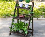 Outsunny 3-Tier Wooden Plant Shelf Foldable Plant Pots Holder Stand Indoor Outdoor 60L x 37W x 93H cm 845-397 5056029862537