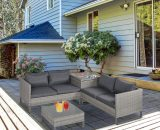Outsunny 4 PCs PE Rattan Wicker Sofa Set Outdoor Conservatory Furniture Lawn Patio Coffee Table w/ Side Storage Box & Cushion, Grey 860-131V70 5056029874318