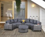 Outsunny 8 Pieces Outdoor PE Rattan Wicker Sofa Set Half Round Conversation w/ 1 Umbrella Hole Side Table and 2 Storage Side Tables Grey 860-144V70CG 5056029875339