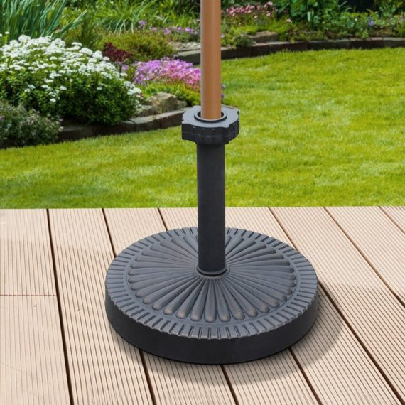 Outsunny Umbrella Base Parasol Stand Holder Garden Patio Outdoor Round Bronze Weighted Patterned 84D-059 5056029825020