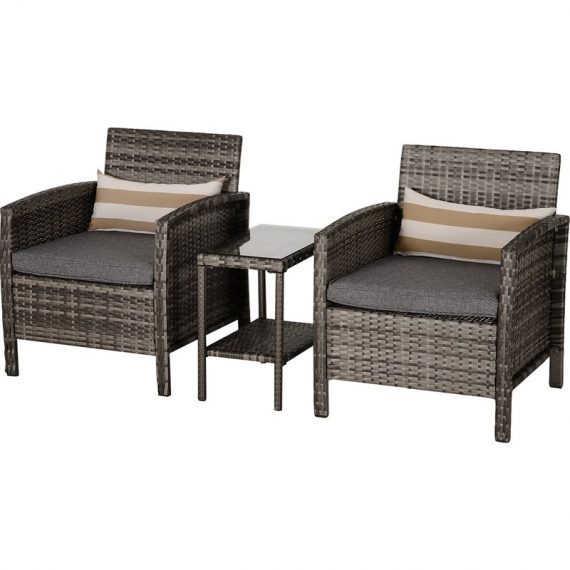 Outsunny 2-Seater PE Rattan Side Table & Armchair Set w/ Pillows Grey 860-086GY 5056399101151