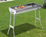 Outsunny Portable Charcoal BBQ Grill-Silver 846-014 5056029870495