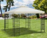 Outsunny Gazebo Replacement Canopy 3x3 m Cream White Roof Top Cover Spare Part New Garden 2-Tier Tent-Cream White 100110-053CW 5056029877784
