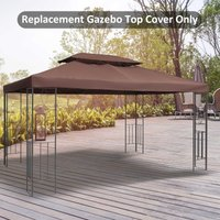 Outsunny Gazebo Replacement Top Cover, 2-Tier, 3x4 m-Brown 01-0082 5056029863886
