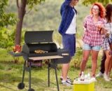 Outsunny Portable Charcoal BBQ Grill Steel Offset Smoker Combo Backyard 846-036 5056029875896