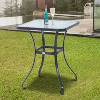 Outsunny Square Glass Bistro Table, 68.5Lx68.5Wx84H cm 84B-035 5056029865330