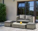 Outsunny 4-Piece Outdoor Wicker Conversation Patio Set All Weather PE Rattan Sofa Furniture with Double Sofa, 2 Ottomans and Lift Top Coffee Table 860-128V70 5056029874813