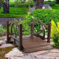 Outsunny Wooden Garden Bridge Decorative Arc Footbridge with Safety Guardrail Outdoor Lawn Pond Bridge Walkway Stained Wood 844-444 5056029874066