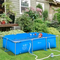 Outsunny Steel Frame Pool with Filter Pump and Filter Cartridge Rust and Reinforced Sidewalls Resistant Above Ground Pool, 315 x 225 x 75cm, Blue 848-016V71 5056029873427
