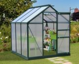Outsunny Clear Polycarbonate Greenhouse Large Walk-In Green House Garden Plants Grow Galvanized Base Aluminium Frame w/ Slide Door (6ft x 6ft) 845-058 5056029852989