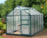 Outsunny Clear Polycarbonate Greenhouse Large Walk-In Green House Garden Plants Grow Galvanized Base Aluminium Frame w/ Slide Door (10ft x 6ft) 845-059V01 5056399140945