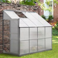 Outsunny Walk-In Garden Greenhouse Heavy Duty Aluminum Polycarbonate with Roof Vent Lean to Design for Plants Herbs Vegetables 252 x 125 x 221 cm 845-391 5056399141409