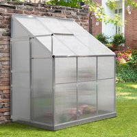 Outsunny Walk-In Garden Greenhouse Heavy Duty Aluminum Polycarbonate with Roof Vent Lean to Design for Plants Herbs Vegetables 192 x 125 x 221 cm 845-391V01SR 5056399141416