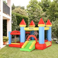 Outsunny Kids Bounce Castle House Inflatable Trampoline Slide Water Pool Basket 4 in 1 with Inflator for Kids Age 3-12 Castle Design 3 x 2.75 x 2.1m 342-017V70 5056399142277