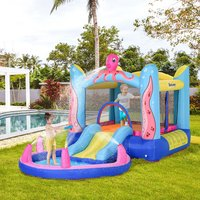Outsunny Kids Bounce Castle House Inflatable Trampoline Slide Water Pool 3 in 1 with Inflator for Kids Age 3-12 Octopus Design 3.8 x 2 x 1.8m 342-022V70 5056399142307