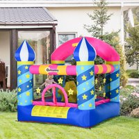 Outsunny Kids Bounce Castle House Inflatable Trampoline Basket with Inflator for Age 3-12 Castle Stars Design 2.25 x 2.2 x 2.15m 342-024V70 5056399142314