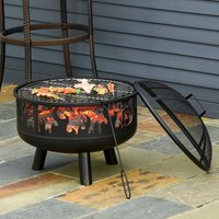Outsunny 2-in-1 Outdoor Fire Pit with Cooking Grate Steel BBQ Grill Bowl Heater with Spark Screen Cover, Fire Poker for Backyard Bonfire Patio 842-169 5056399145711