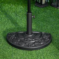 Outsunny Half Round Parasol Base Weighted Umbrella Holder Stand Balcony Black 84D-043 5056029878064